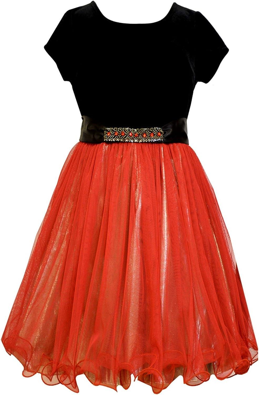 Bonnie Jean Big Girls Red Mesh Gold Lame Dress 12