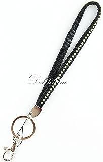 Bling Rhinestone PU Leather Wristlet keychain for key, id holder, camera, key fob, USB... (Black)