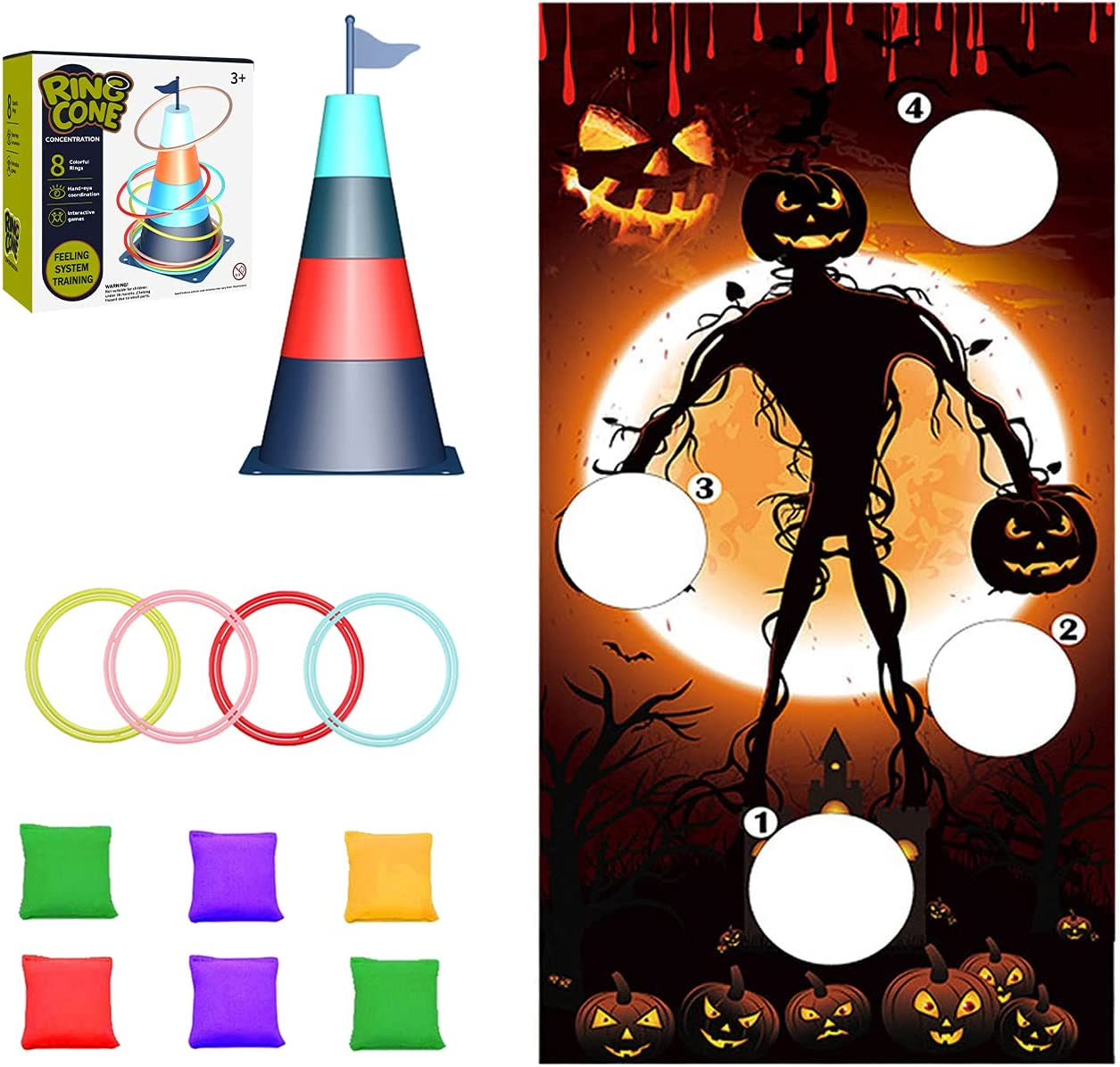 VHION Large-scale sale 4 Tucson Mall in 1 Halloween Themed Toss Banner Bag Bean Sets To Game