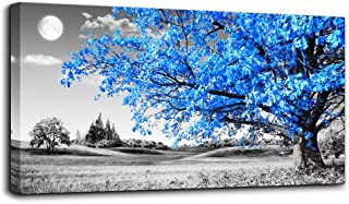 wall art for living room Simple Life Blue moon tree landscape Abstract painting office Wall Decor 24