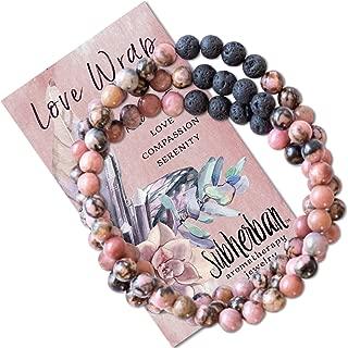 Subherban Essential Oil Bracelets - Aromatherapy Bracelet or Necklace - Lava Rock Anxiety Bracelet - LOVE WRAP - Handmade Jewelry - Gifts for Women