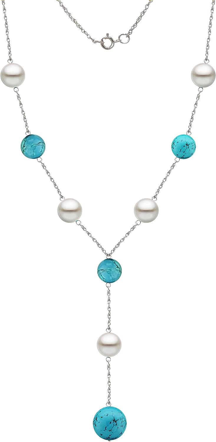 14k 5 ☆ popular Gold Station Necklace with 7-7.5mm Cultured Pearl Freshwater Boston Mall