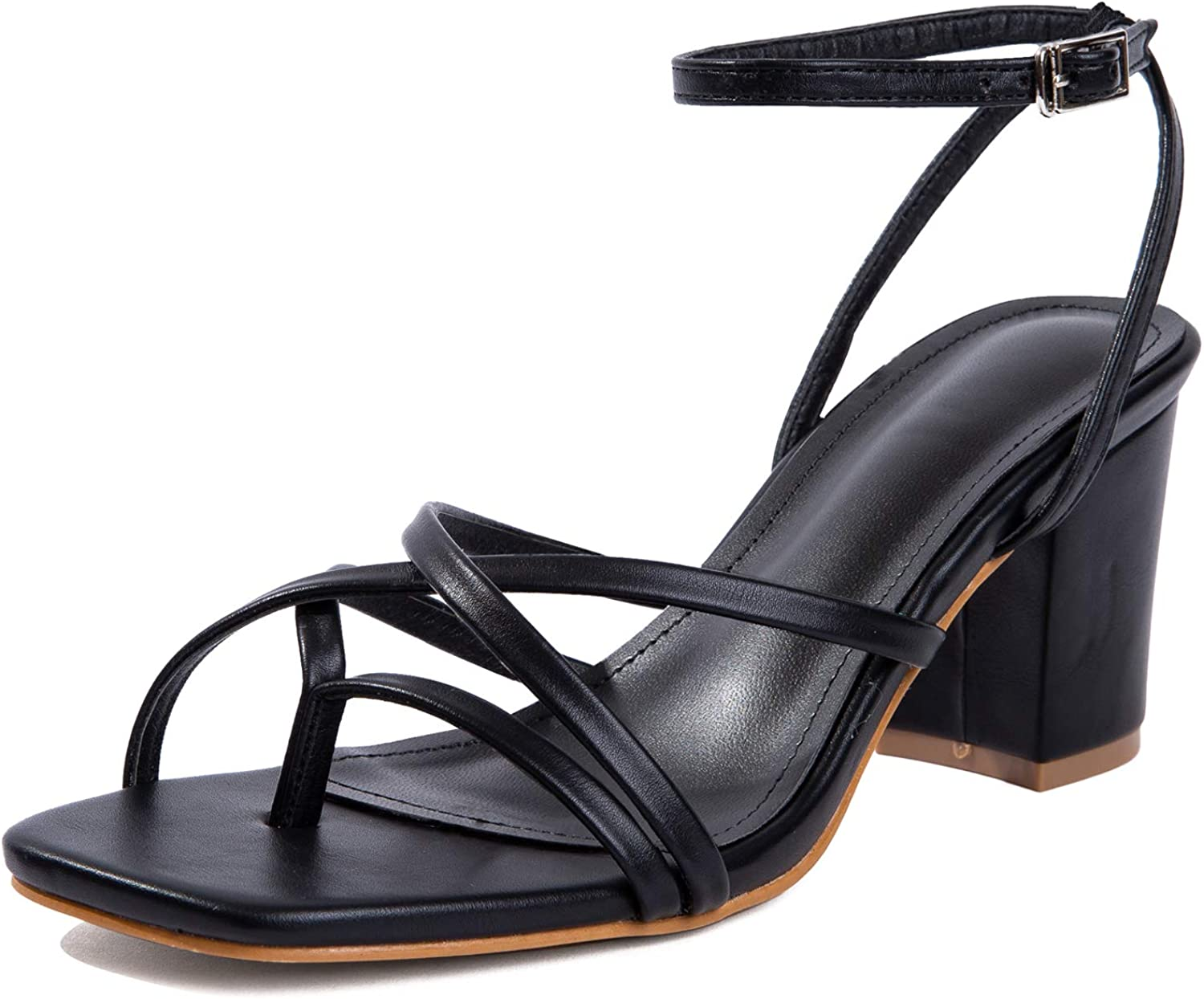 Women Heeled Sandals Woven Block Square-toe Leather Comfortable Strappy Casual Sandals