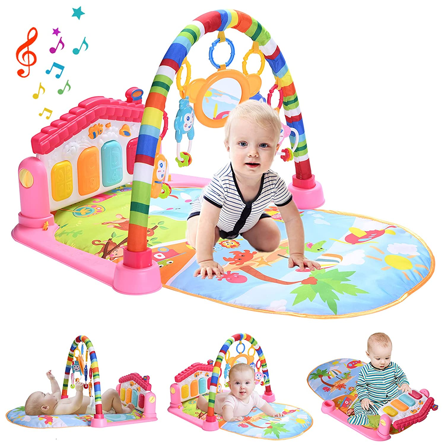 WYSWYG Baby Play Mat for Floor, Baby Play Gym Activity Mat Kick and Play Piano Gym Activity Center for Baby with Music and Lights (Pink)