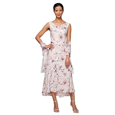 Alex Evenings Tea Length High-Low Dress Women