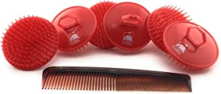 GBS Shampoo Scalp Massage Brush #100 Made in USA (6 Pack color Red) with 7 all purpose Comb promotes health hair Gently exfoliates Scalp and Hair growth Compliments any shampoo and Conditioner