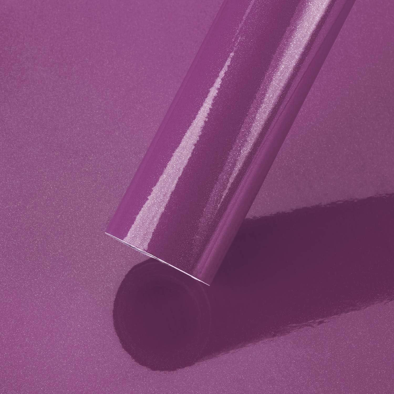 PROHOUS Pegatinas Adhesiva de Muebles Papel Pintado Autoadhesivo de Cocina Película de PVC con Brillo 0.4 x 3M Fondo de Pantalla para Renovado Ventanas Puertas Armario Bricolaje Vidrio DIY (Púrpura)