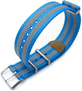 MiLTAT 22mm G10 NATO 3M Glow-in-The-Dark Watch Strap, Brushed, Blue and Grey Stripes