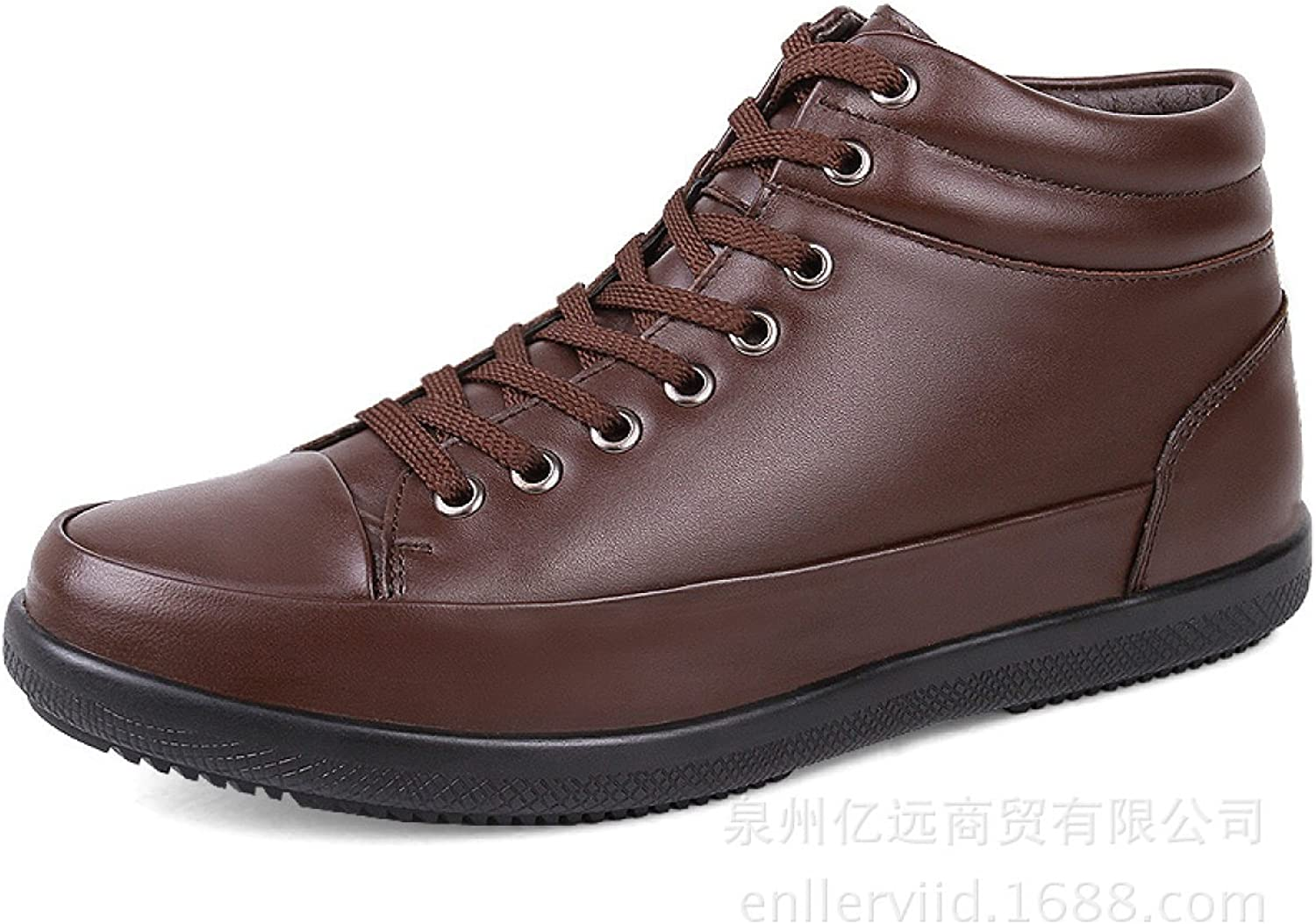 Leather High To Help Men's Boots Plus Cashmere Warm Cotton Boots shoes
