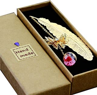 Toirxarn Metal Feather Bookmark,with 3D Butterfly and Glass Beads Dry Flower Pendant, Gift for Reader, Woman and Kids.(Gold Feather Pink Safflower)