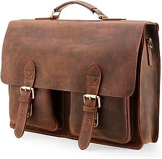"""Kattee Handmade Genuine Leather Satchel Bag 15"""" Laptop Briefcase Messenger Bag for Men"""