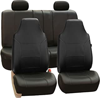 FH Group FH-PU103114 High Back Royal PU Leather Car Seat Covers Airbag & Split Solid Black-Fit Most Car, Truck, SUV, or Van