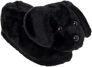 Silver Lilly Black Lab Slippers - Plush Labrador Dog Slippers w/Platform by (Black X-Large)
