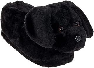 Black Lab Slippers - Plush Labrador Dog Slippers w/Platform