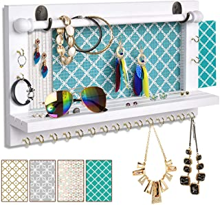 Viefin White Wall-Mounted Mesh Jewelry Organizer, Wooden Earring Bracelet Holder with Shelf, Hanging Hooks for Necklace, Chic Wall Decor(White,Upgrade)