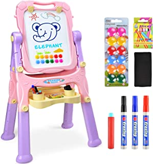 Amagoing Magnetic Easel for Kids, 4 in 1 Standing Toddler Art Easel Double Sided Quick Flip & Height Adjustable Children Drawing Board with Paper Clips