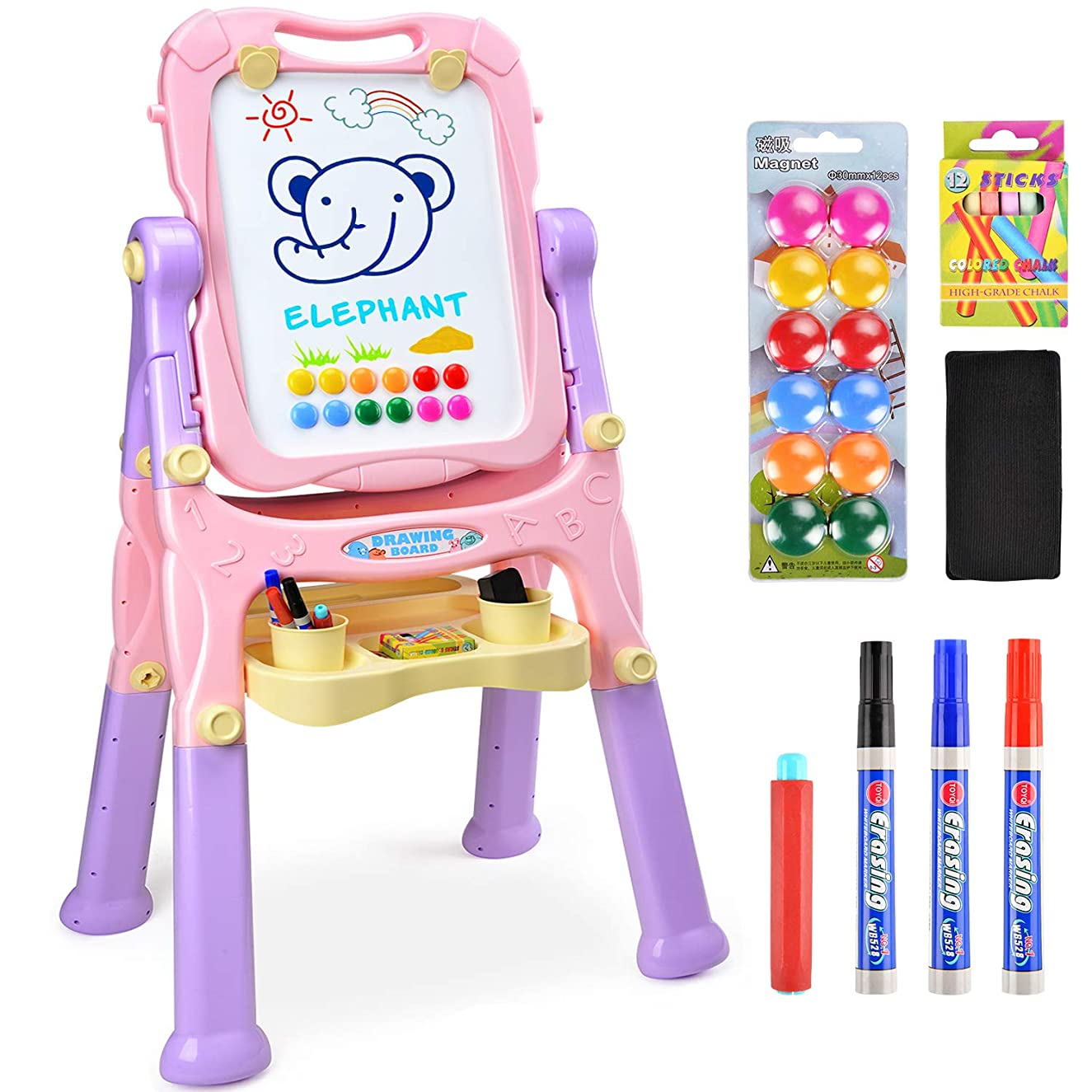 Amagoing Magnetic Easel for Kids, 4 in 1 Multifunctional Standing Art Easel Double Sided Quick Flip & Height Adjustable Drawing Board with Paper Clips