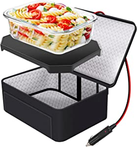 Portable Personal Food Warmer - Mini Oven Microwave Tote - Slow Cooker For Meals Reheating & Raw Food Cooking - 12V Car Electric Heated Lunch Box