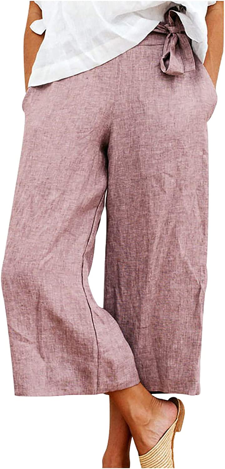 Uppada Women's Linen Capris Pants Wide Leg Loose Sweatpants Lightweight Cropped Casual Tie Knot Baggy Trousers with Pockets