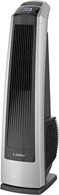 Lasko U35115 Electric Oscillating High Velocity Stand-Up Tower Fan with Timer and Remote Control for Indoor, Bedroom and Home Office Use, 35 Inch, Silver Black
