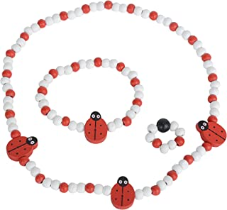 SMITCO Toddler Jewelry for Girls - Kids Wooden, Beaded Toy Necklace, Bracelet and Ring Set for Play Pretend or Dress Up with Costume Accessories - Non-Toxic and Safe for Children Ages 3 to 8