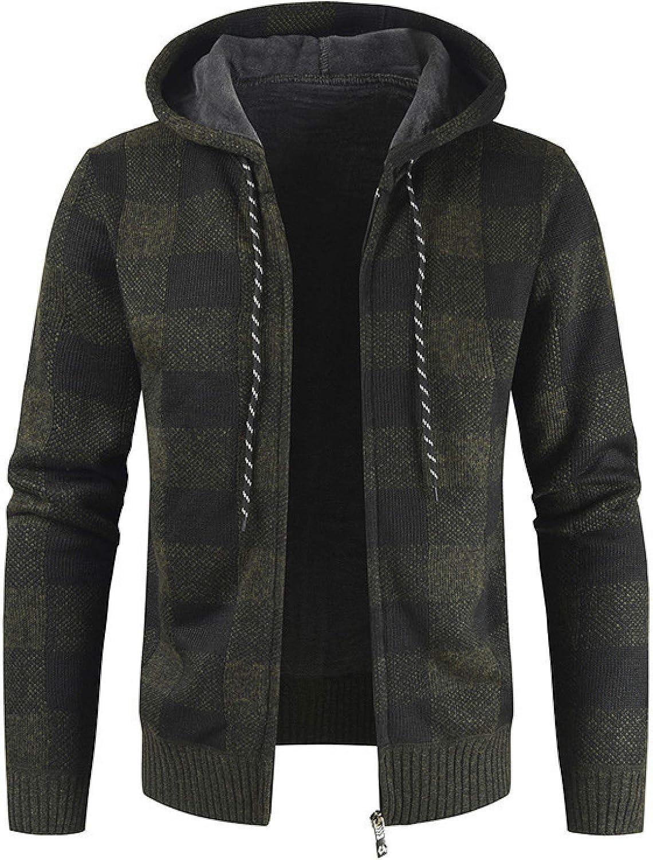 Chaqueta de suéter con Capucha Gruesa para Hombre, a Cuadros, con Contraste de Color, Costura, Cremallera de Moda, Abrigo de Punto cálido Informal de Talla Grande