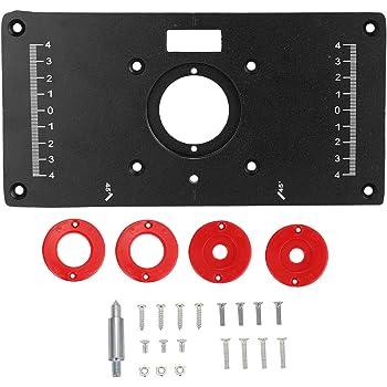 """Ritioner Tavolo inserto piastra Panche,9.3""""x4.7"""" x0.3"""", in lega di alluminio Router per legno Trimmer Modelli Macchina per incidere con 4 anelli e viti"""