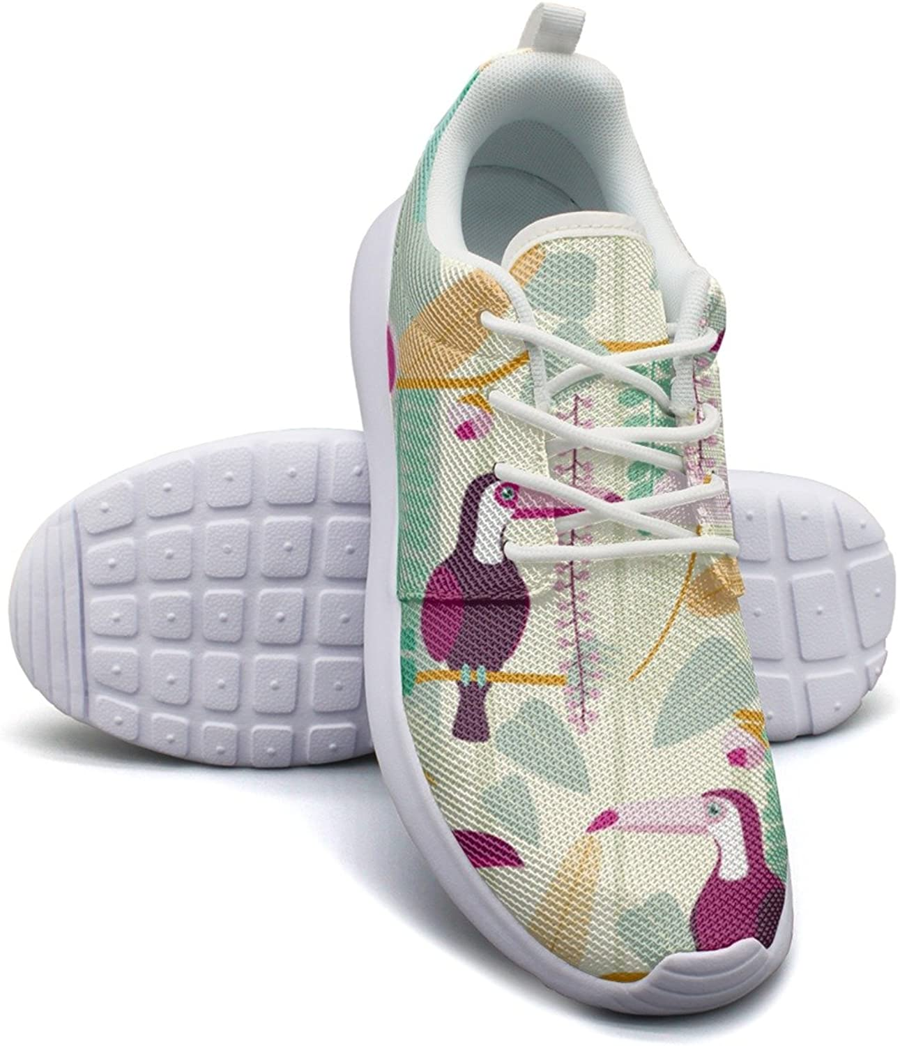 Eoyles gy Tropical Toucan Jungle Birds Leaves Beautiful Women Slip Resistant Lightweight Running Sneakers shoes