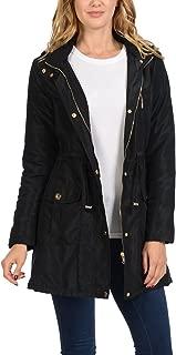 Auliné Collection Women's Satin Faux Fur Lined Hoodie Long Coat Anorak Jacket