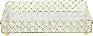 Homend Mirrored Crystal Vanity Makeup Tray Ornate Jewelry Trinket Tray Organizer Cosmetic Perfume Bottle Tray Decorative Tray Home Deco Dresser Skin Care Tray Storage (Rectangle 10
