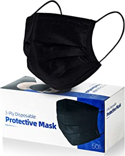 Face Masks Black 3 Layers (Pack of 50 PCS)