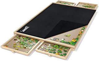 Gamenote Jigsaw Puzzle Board with Cover Mat - Portable Large Puzzle Table with Drawers for Adults, Wooden Smooth Plateau W...