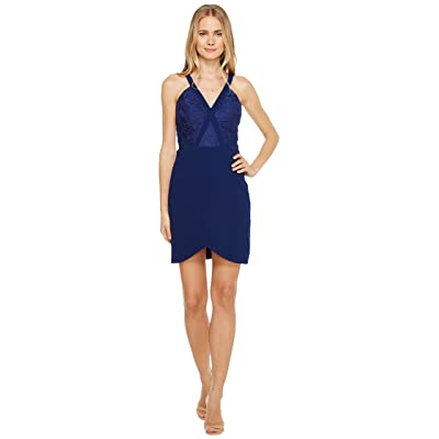 Aidan Mattox Crepe and Lace Cocktail Dress (Navy) Women