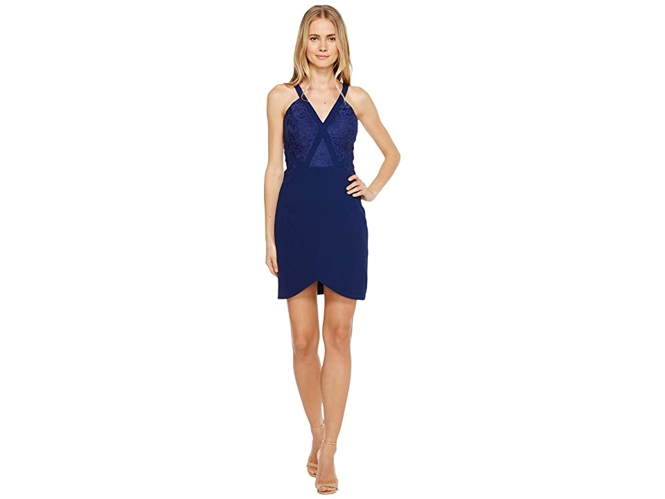 Image of Aidan Mattox Crepe and Lace Cocktail Dress (Navy) Women's Dress