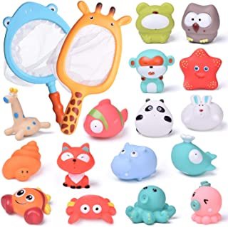 FUN LITTLE TOYS 18 PCs Baby Bath Toys with Soft Cute Ocean Animals Bath Squirters and Fishing Net, Water Toys for Kids, Bi...