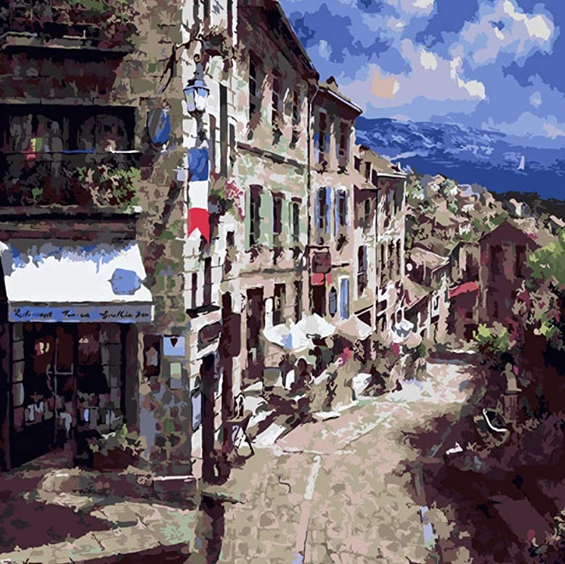 HYDWX Quiet Town Scenery Sky Oil Painting by Numbers DIY Abstract Digital Picture Coloring by Numbers On Canvas Unique Gift Home Decor 50x60CM