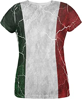 Distressed Italian Flag All Over Womens T Shirt
