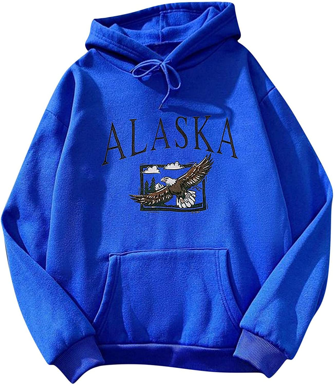 Toeava Sweatshirts for Women,Women's ALASKA Graphic Hoodie Pullover Teen Girls Drawstring Hooded Sweatshirt w/Pocket