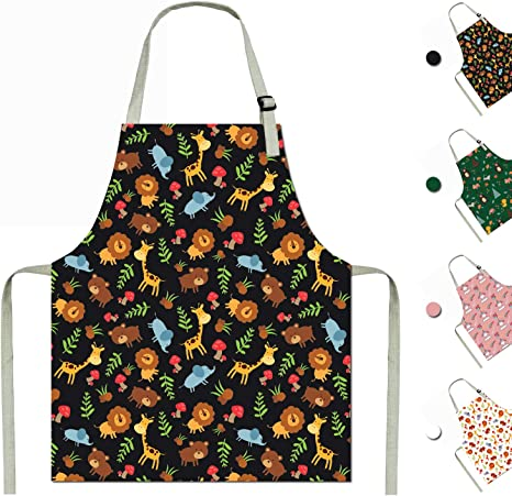 Boys Cooking Apron Girls Apron Child Size Apron Cotton Canvas Children Artists Aprons With Adjustable Neck Strap For Cooking Baking Painting Gardening School Kitchen Black Small Large Black Amazon Ca Home