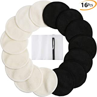 Bamboo Makeup Remover Pads (16 Pack), 2 Layers 3.15inch Reusable Organic Bamboo Cotton Rounds with Laundry Bag, Washable Facial Cleansing Cloths for Eye Makeup Remove Face Wipe - Black&White