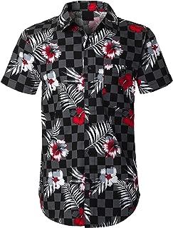 Mens Hipster Hip Hop CasualShort Sleeve Button Down Shirts