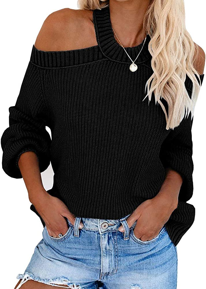 Tutorutor Womens Off Shoulder Crossed Halter Pullover Sweaters Oversized Long Batwing Sleeve Ribbed Knit Fall Jumper Top