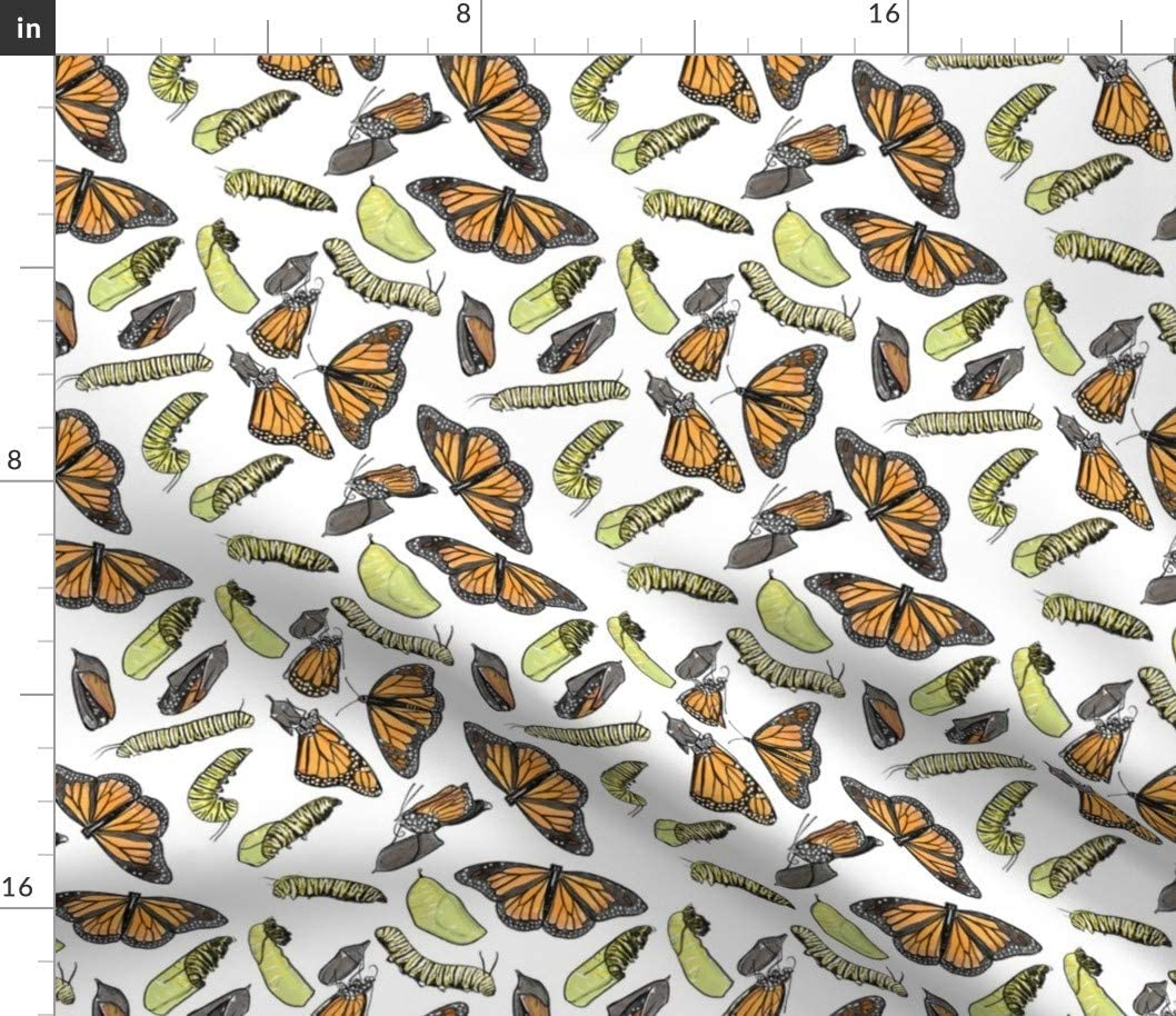 Spoonflower Fabric Be super welcome - Monarch Butterflies Stem Insects Entomology Same day shipping