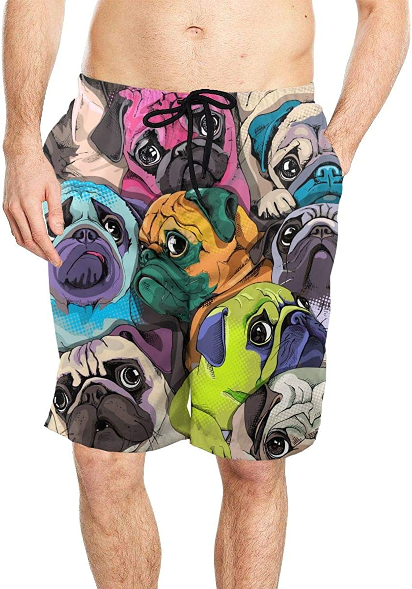 Coloring Pop Art Style Dogs Mens Quick Dry Beach Board Shorts Swim Trunks with Mesh Lining