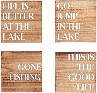 Mud Pie Jump in Lake Good Life Gone Fishing Life is Better Wood Coaster Set of 4