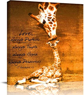 Arts Language Square Canvas Print Wall Art for Bathroom/Kitchen/Kids Bedroom Wall Decor Mother Giraffe Kissing Baby Giraffe Giclee Print Canvas Wrap Framed and Ready to Hang-16x16in