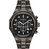 Bulova Men's Analog-Quartz Watch with Stainless-Steel Strap, Grey, 24 (Model: 98D142