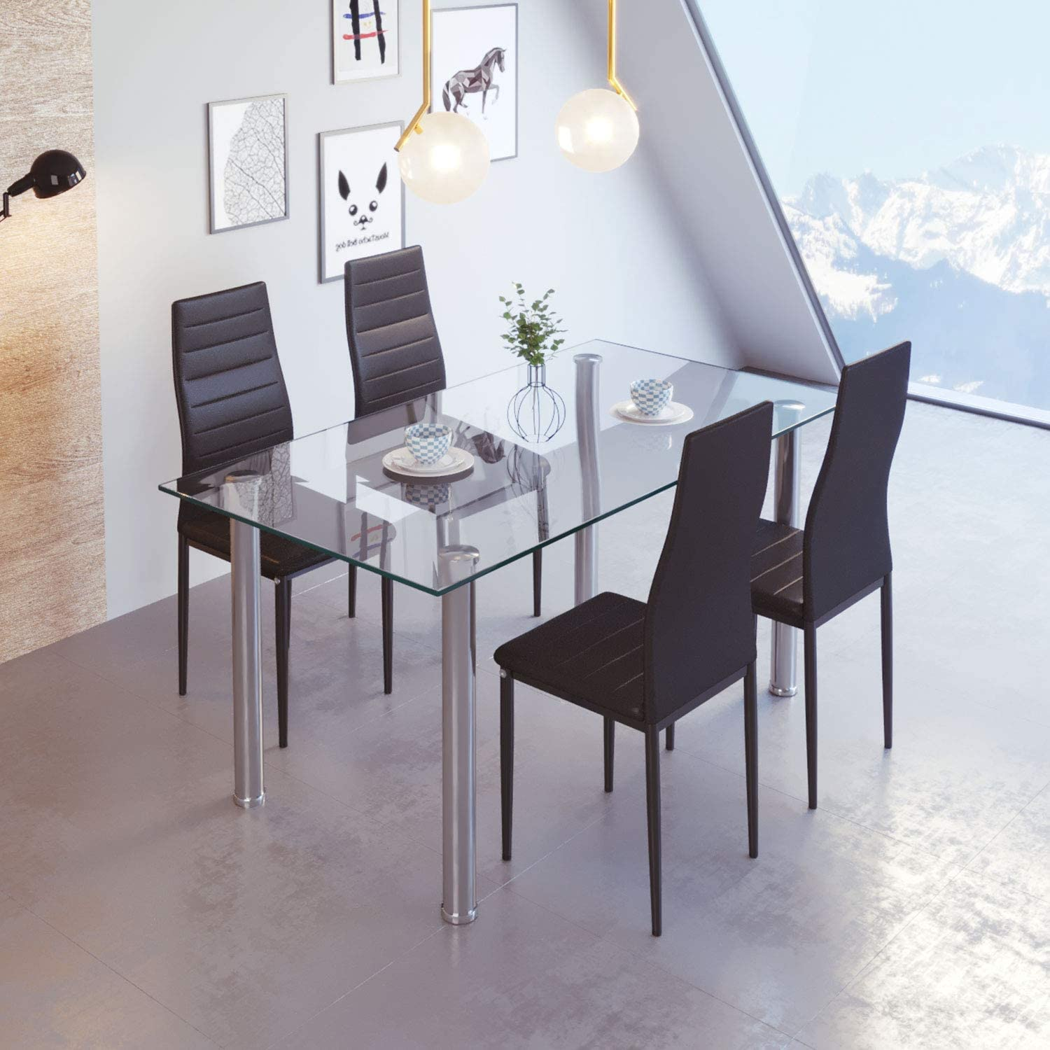 jeffordoutlet Rectangular Dining Table and 9 Black Chairs, High Back PU  Leather Chairs and Tempered Glass Dining Room Set Kitchen Furniture
