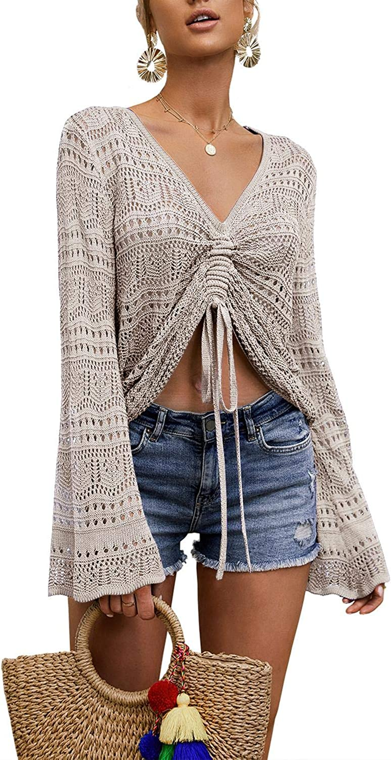 Modershe Womens Casual V Neck Pullover Sweater Drawstring Ruched Knot Front Long Sleeve Crop Top Knit Blouse