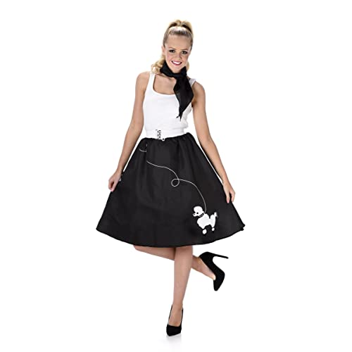 Black Poodle Skirt Ladies Fancy Dress 50s 60s Rock n Roll Womens Adults Costume (Large UK 16-18)